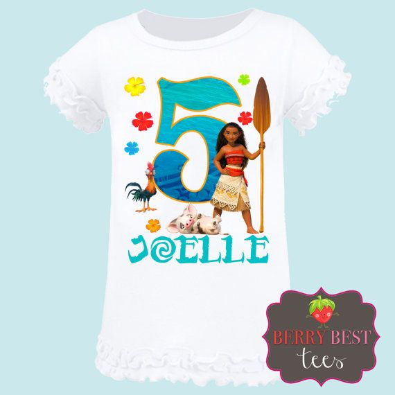 Here's the perfect Moana tee shirt for the birthday girl to wear. You can have your daughter's tee shirt personalized with her name and age. See more party ideas and share yours at CatchMyParty.com