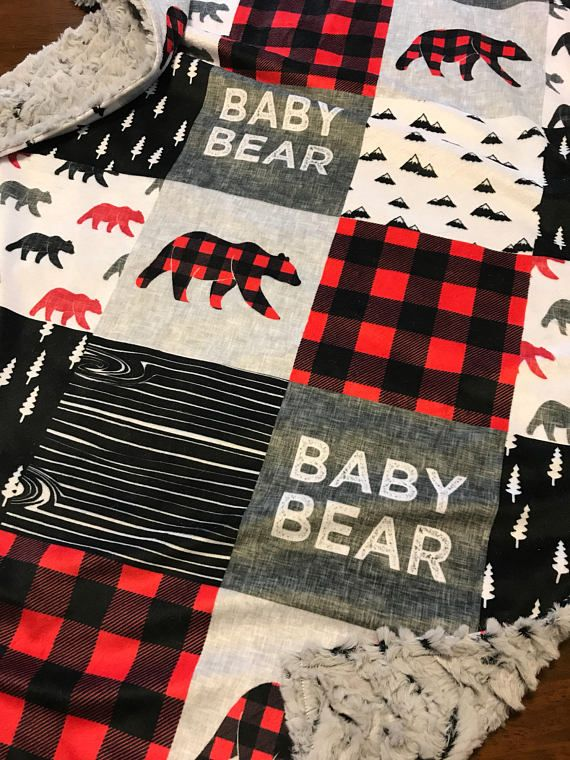 Woodland Nursery Minky Blanket Red And Black Buffalo Plaid Woodland Baby Blanket Baby Bear Baby Shower Buffalo Plaid Nursery