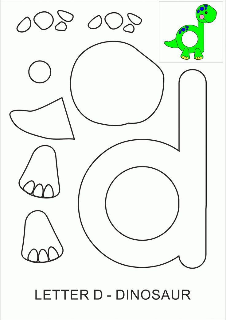 Geletterdheid: Template Teacher Dinosaurs: Letter D - Dinosaur