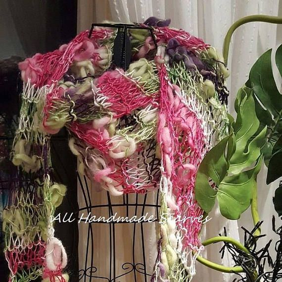 Knitted Pink Green Knit Scarf Shawl-Bamboozle Strata Scarf-Ladies Openweave Funky Scarf #accessories #art - in-a-scarf #christmas #clothing #design #etsy #etsyseller #fashion #forsale #gifts #handmade #ladies #outdoors #ooak #pink #green #unique