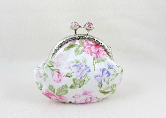 Floral coin purse framed change purse gift for her kiss