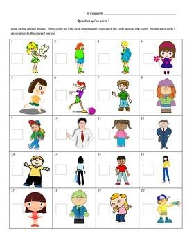 In this activity, students will have a worksheet with 20 different people (in color) in front of them.  You can take the QR codes (which are provided!), print them, and put them around the room.  Students use a smartphone, ipod, tablet, basically anything you can get your hands on to scan each code (you will need a barcode scanner app..
