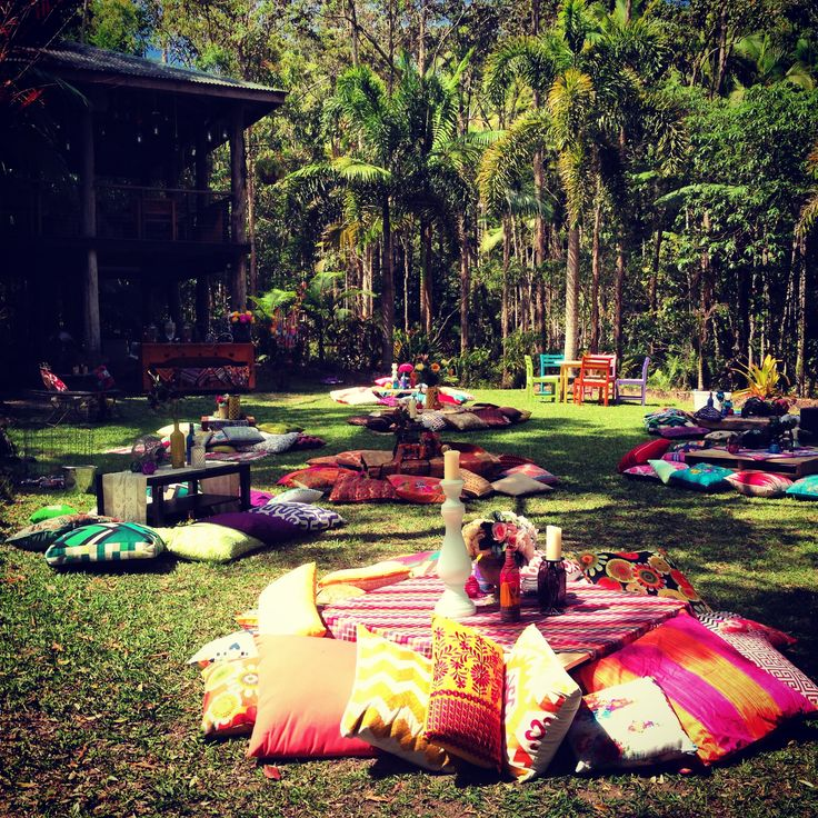 Boho Engagement Party Floor Cushions Pallet Coffee Tables Flowers Candles Colourful So