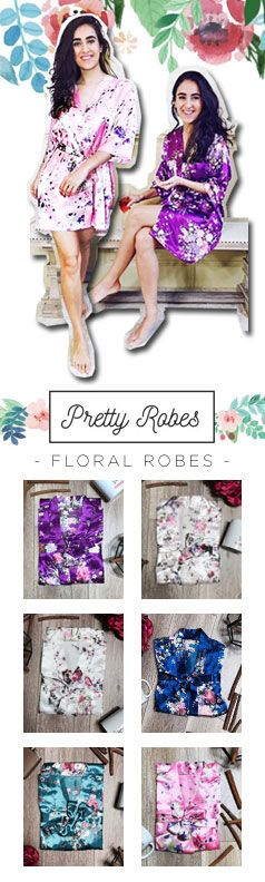 Chic Bridal Floral Print Robes in many colors for the Bride and her Bridesmaids!