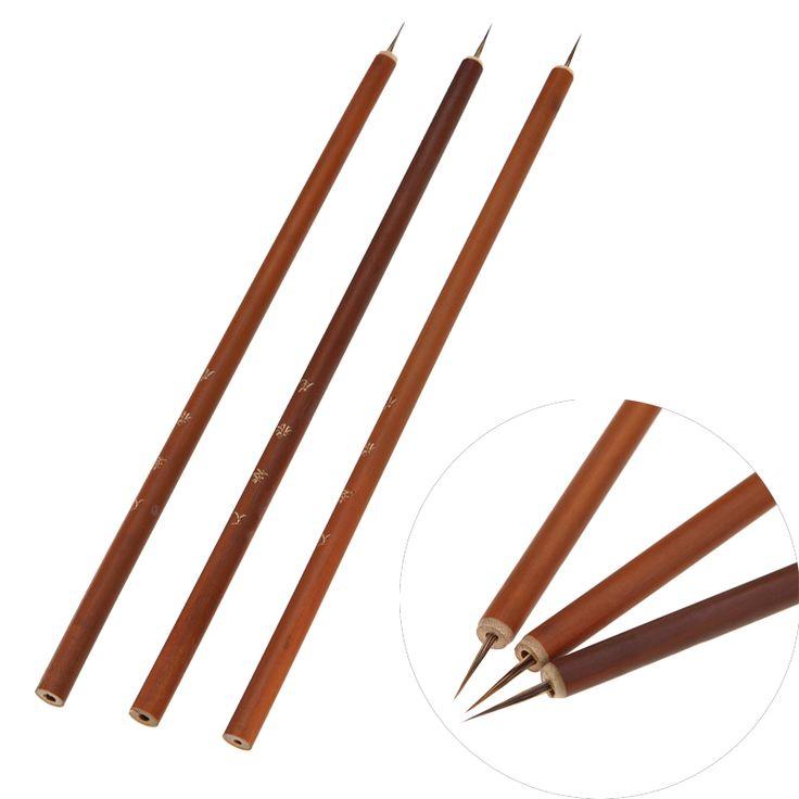 Nail Art Line Flower Paint Drawing Dotting Brush Weasel Fiber Hair Wooden Pro Acrylic UV Gel Polish Tips 3D Design Manicure Pen