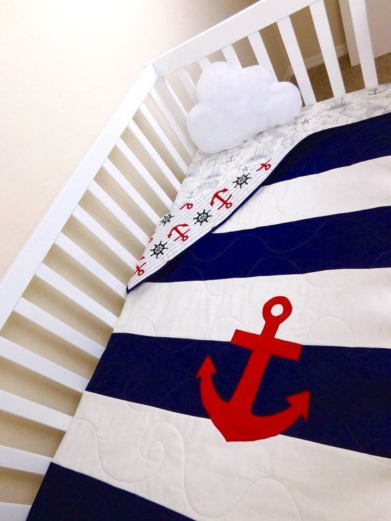 Nautical Baby Quilt Nautical crib quilt by BabyQuiltsbyRomiW