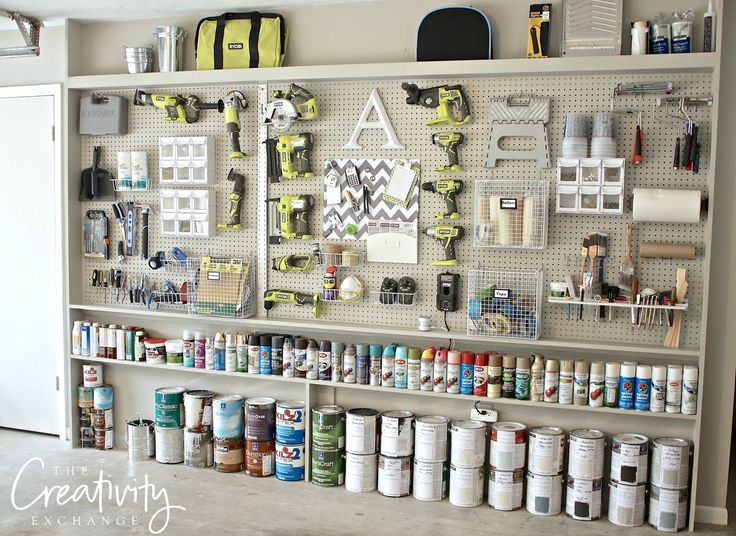 """DIY Garage Pegboard Narrow Storage Wall with Plans. Only need 5.5"""" in depth to make this."""