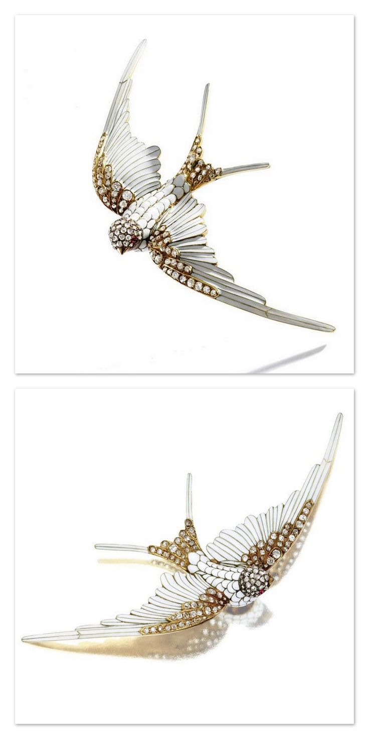 Lalique 1890 Swallow Brooch/Hair Ornament Combination: diamond/ enamel, approx 1ct of rose-cut & old mine diamonds applied w/white enamel, mounted in 18k gold. [Similar brooch & drawing of a brooch by René Lalique illustrated in Yvonne Brunhammer, René Lalique: Exceptional Jewellery 1890-1912, p. 18, cat. 2 & cat. 3]