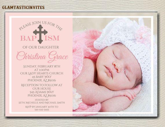 Chica de invitación de bautismo invitación de por GlamtasticInvites