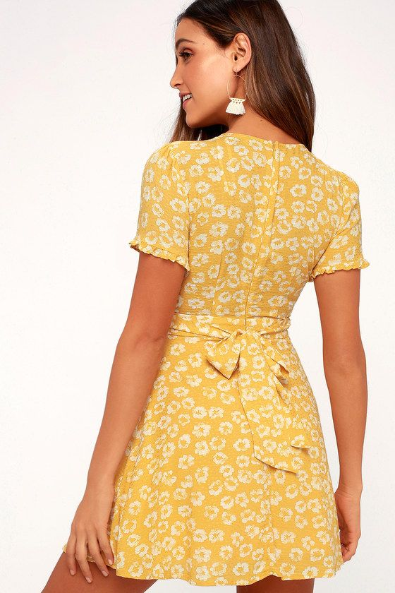 eea4c3c2c5359 Lulus | Garden Explorer Mustard Yellow Floral Print Mini Dress ...