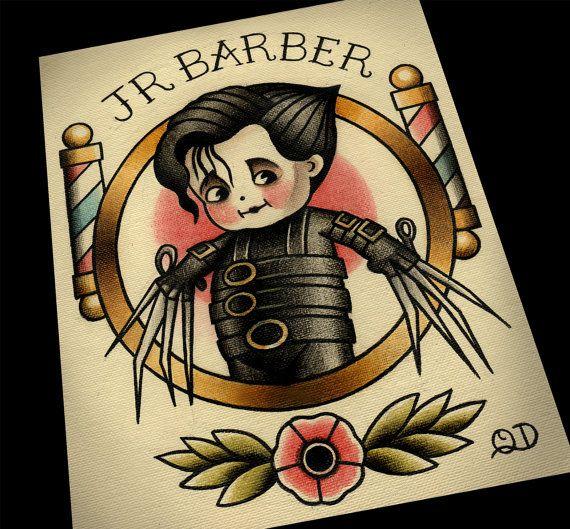 8x10 Junior Barber Tattoo Flash