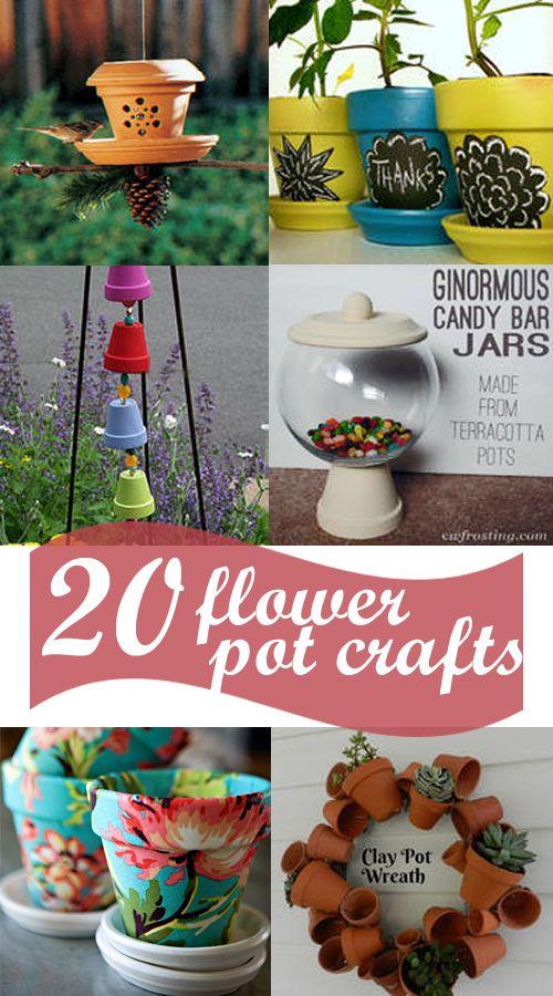 MIM: 20 darling ideas for clay pots: safari animals, fabric covered, candy jars, apple jars, cupcake holder, photo pot, bird feeder, chalkboard markers, windchimes, etc.