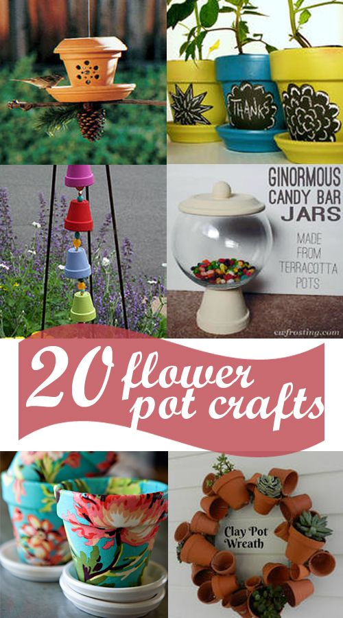 MIM: 20 darling ideas for clay pots: safari animals, fabric covered, candy jars, apple jars, cupcake holder, photo pot, bird feeder, chalkboard markers, windchimes, etc.