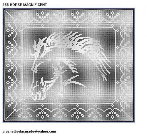 258 Horse Magnificent Filet Crochet Doily Afghan Pattern New Border Crochet Home Decorcrochet