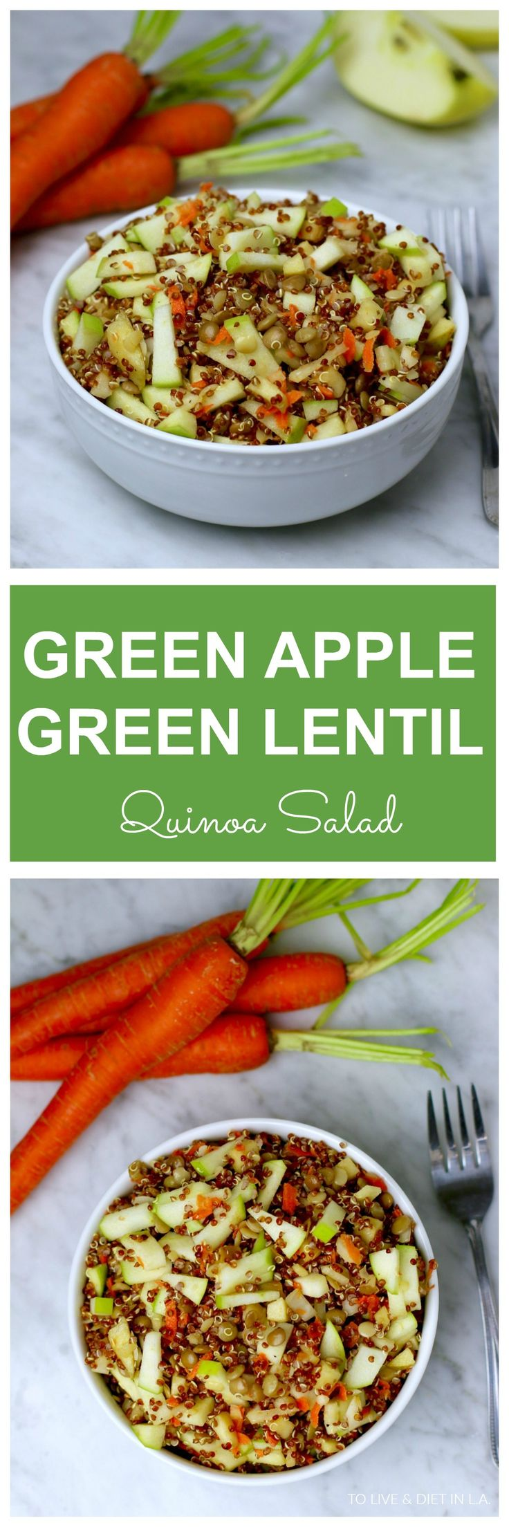 Green Apple Green Lentil Quinoa Salad - a healthy, easy, gluten-free and vegan side dish. The perfect summer salad for those BBQs and potlucks. Option to add feta cheese for vegetarians!