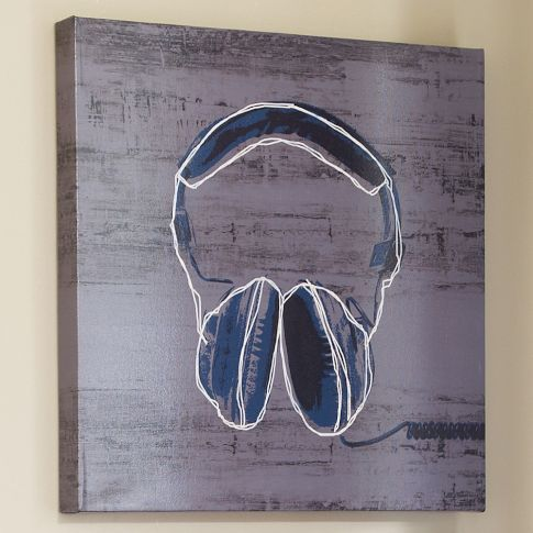 Headphones Wall Art | PBteen...too many $$ but I love the idea!