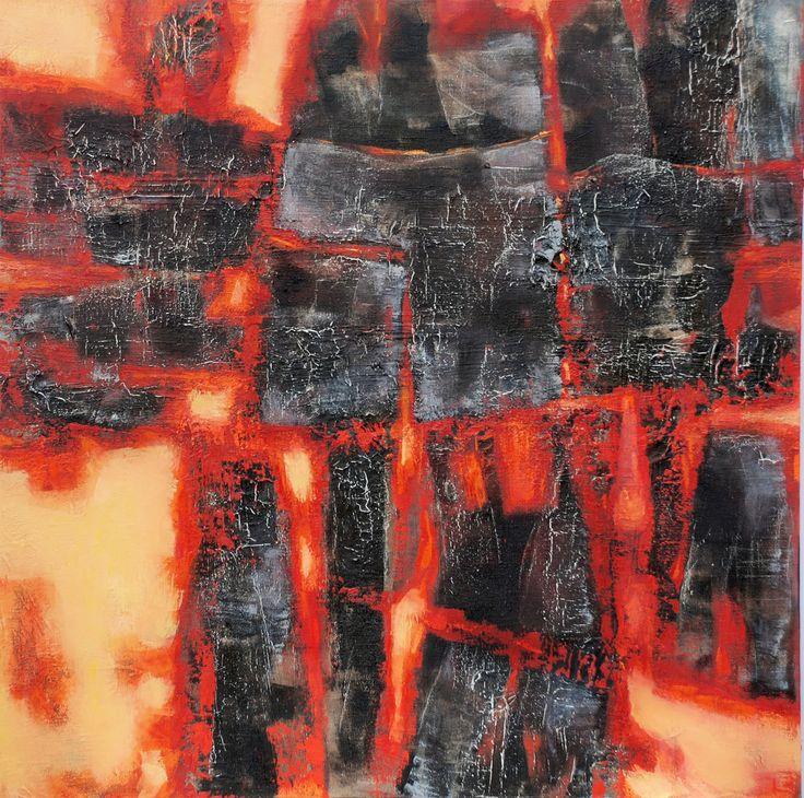 Burning coal 2 de 2 mixed media on canvas 75 x 75 cm 2010