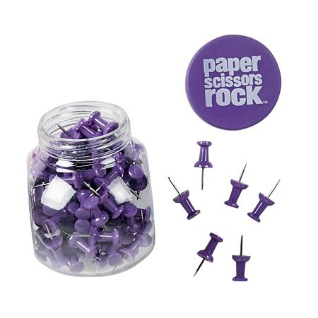 Paper Scissors Rock Pushpins Tub Purple 120g