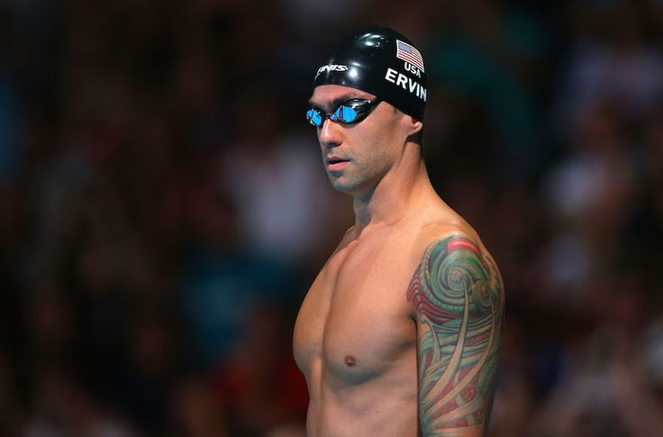 Anthony Ervin preparing to compete in the men's 50 meter freestyle 50m semifinal at the FINA World Championships at Palau Sant Jordi in…