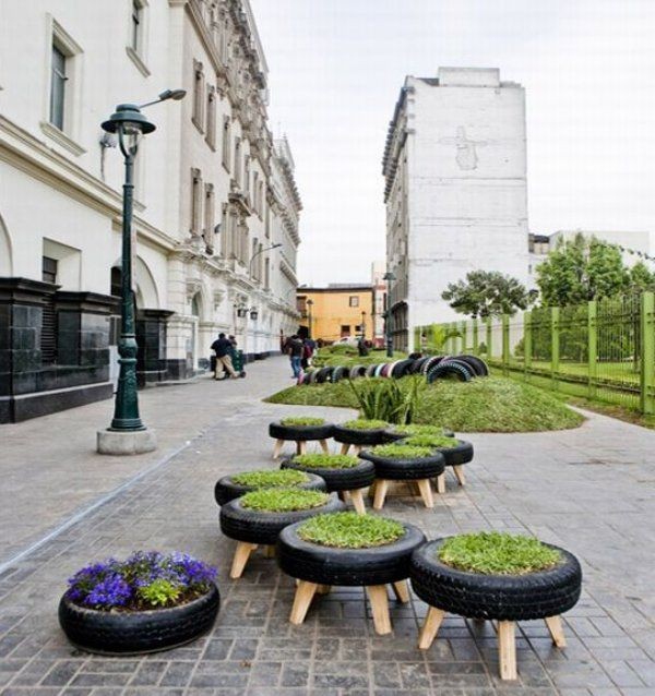 Tire Chairs and Planter  Green Invasion Lima, Peru  via Treehugger