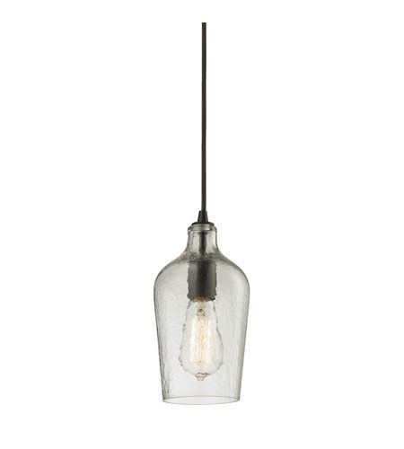 elk 103311clr hammered glass 1 light 5 inch oil rubbed bronze pendant ceiling light in hammered clear glass