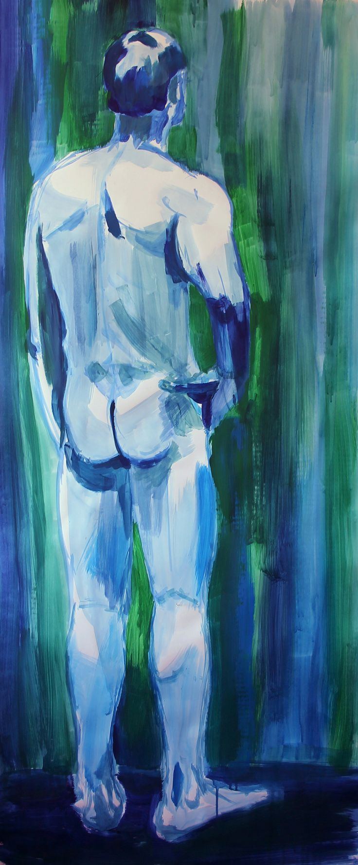 Man, nude, act, painting, acryl, by KaVe