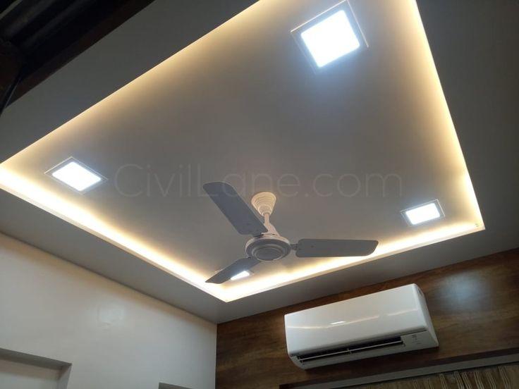 Square pattern false ceiling design with LED panel lights ...