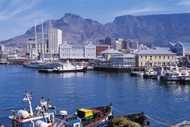 love cape town waterfront with table mountain behind it