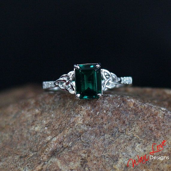 Emerald & Diamond Celtic Knot Engagement Ring by WanLoveDesigns