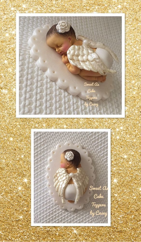 1 X Small Angel Wing Baby Girl Baby Cake Topper. Decoration. Christening.  | eBay