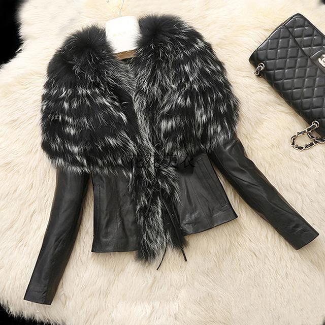 Winter Fur Coat Warm Fashion Women's Faux Fur Collar Leather Jacket Slim Waist Outerwear Overcoat Parkas Big Oversize
