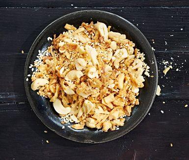 Recept: Cashewsmul med sesam och rostad lök