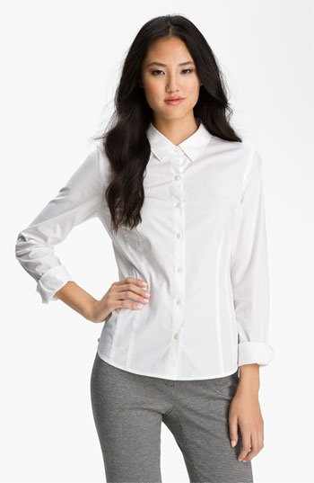 Wardrobe Basics: Stretch Cotton Shirt (White shirts become dingy over time, treat yourself to a new one every year. Or, even better but two at a time.): White Shirts, Blouses 58, Collars, Buttons Up Shirts, Cotton Shirts, White Blouses, Stretch Cotton, Cotton Buttons Up, Shirts White