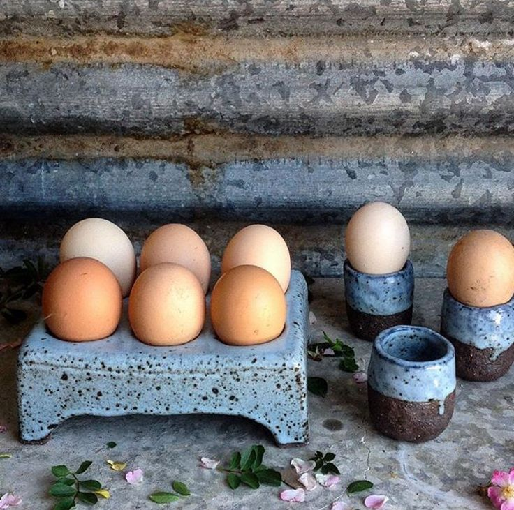 Egg stand and egg cups by Barakee Pottery