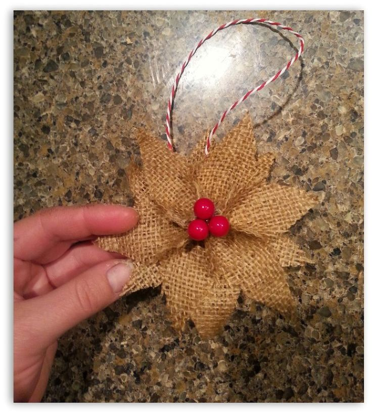 Burlap Poinsettia Christmas Ornaments - These double-sided ornaments are simple to make and will add just the right amount of rustic charm to your Christmas tre…