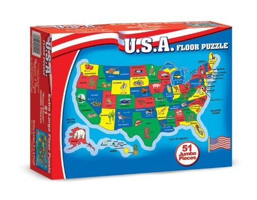 U.S.A. Map Floor (51 pc) by Melissa & Doug. $26.50. Please refer to the title for the exact description of the item. 100% SATISFACTION GUARANTEED. Allof theproductsshowcased throughoutare100%OriginalBrand Names. Melissa & Doug U.S.A. Map Floor (51 pc)Geography comes to life in this cardboard floor puzzle, featuring 51 pieces cut to the shape of the state or region. 2' x 3' when assembled, the extra-thick pieces are 20% thicker than the competition's. Its ...