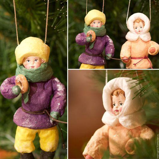 """Человечки ручной работы. Ярмарка Мастеров - ручная работа. Купить Новогодние игрушки, Ватные игрушки """"Бабушкины бублики"""". Handmade."""