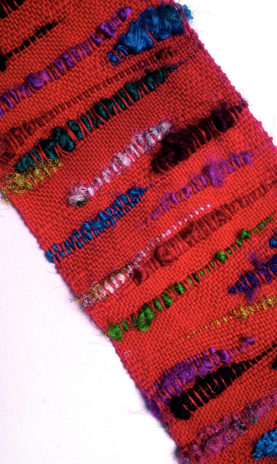 Handwoven Scarf  red with multicolor Sari by JennifersHandwovens, $65.00