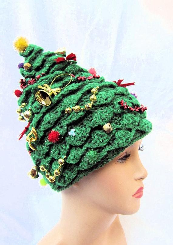 Free Crochet Christmas Tree Hat : Christmas Tree Hat crochet hat creative hat green hat by ...
