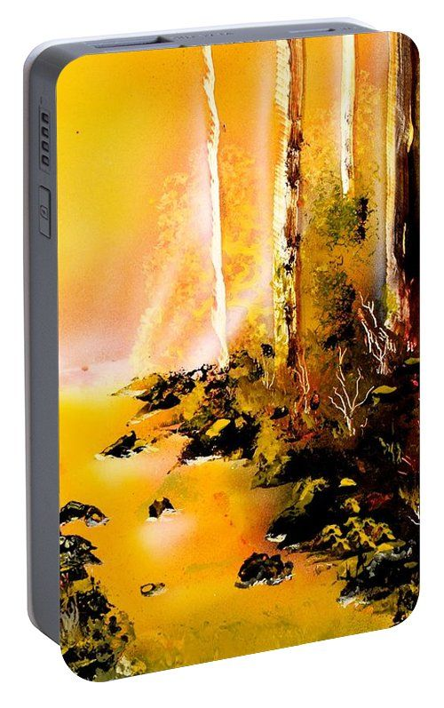 Yellow River Portable Battery Charger Printed with Fine Art spray painting image Yellow River by Nandor Molnar (When you visit the Shop, change the orientation, background color and image size as you wish)
