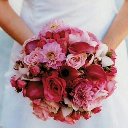 Bruidsboeket rood-roze