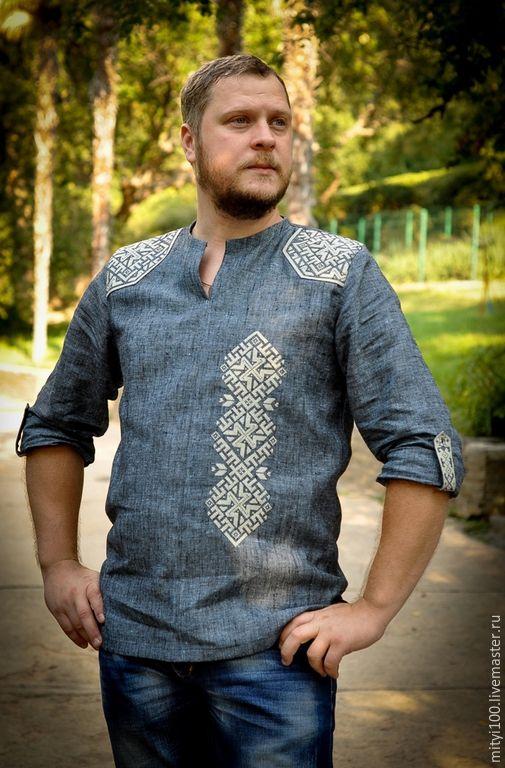 Купить Сорочка ДХАТА - синий, рубашка, сорочка, русский стиль, русский сувенир, русская традиция