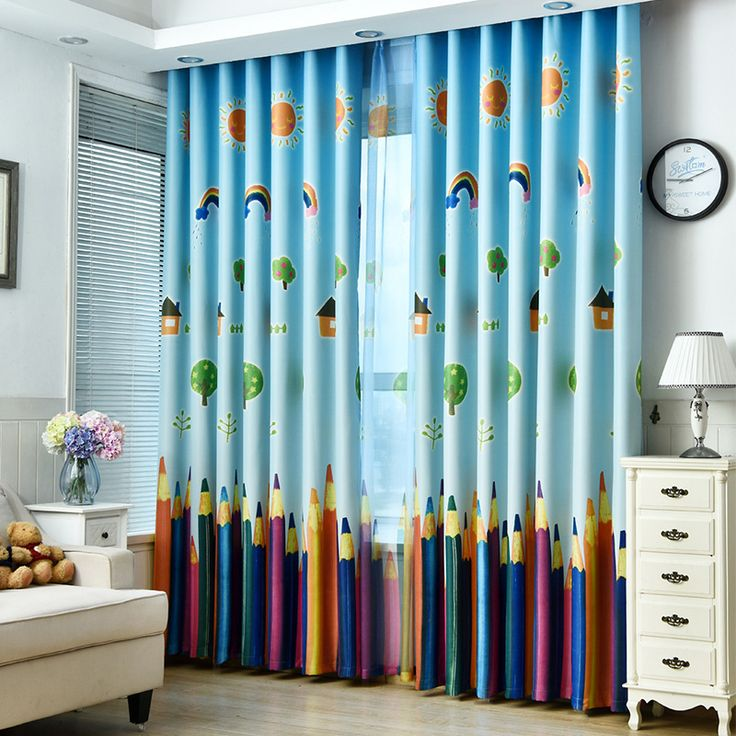 Rainbows and Pencils Children Curtains Baby Room Curtains for Living Room The Bedroom Blackout Curtains for Kids Lovely Drapes