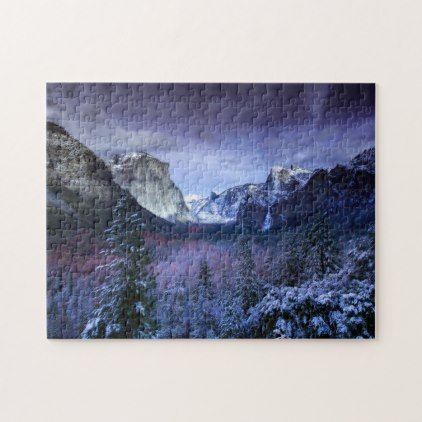 Yosemite Tunnel View Winter Snow Photo California Jigsaw Puzzle - winter gifts style special unique gift ideas