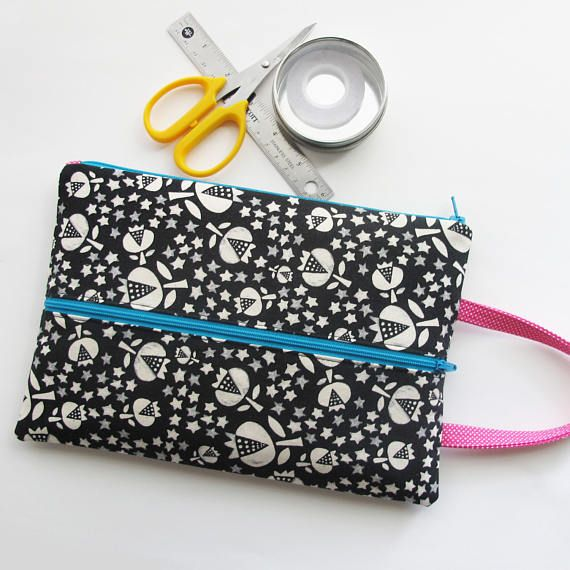 Double Zip Tool Bag  Black block print fabric zipper pouch