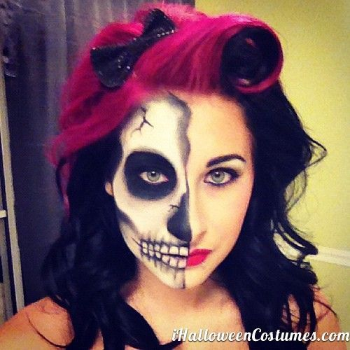 half face skull makeup for halloween halloween costumes 2013 - Skeleton Face Paint For Halloween