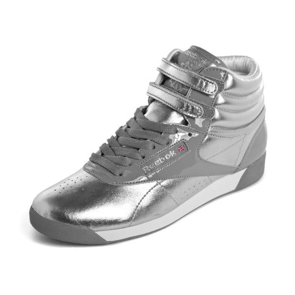 reebok high tops. reebok freestyle hi internatinal metallic (silver / white . high tops a
