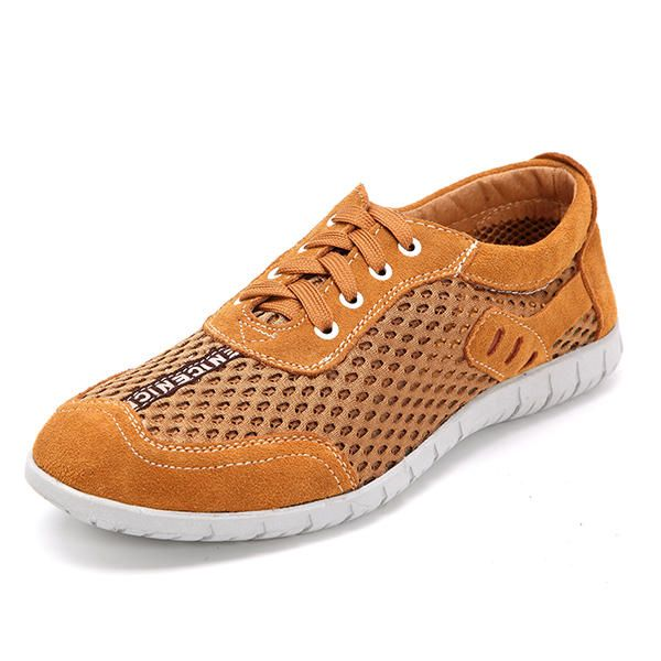 US Size 6.5-12 Men Breathable Outdoor Lace Up Casual Mesh Sneakers - US$40.77  #men #women  #shoes #fashion
