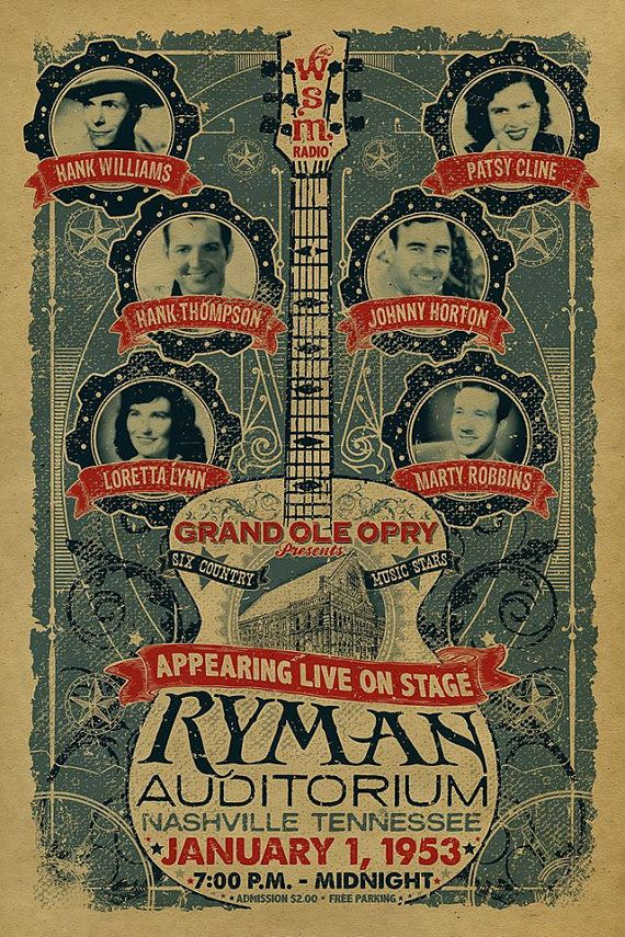 Ryman Auditorium poster. Grand Ole Opry. 1953. Loretta Lynn. Hank Williams. Patsy Cline. 12x18. Country Music. Kraft paper. Nashville. Art.