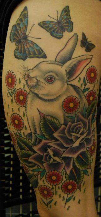 White rabbit tattoo